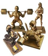 powerlifting trophys, powerlifting awards,powerlifting sculptures